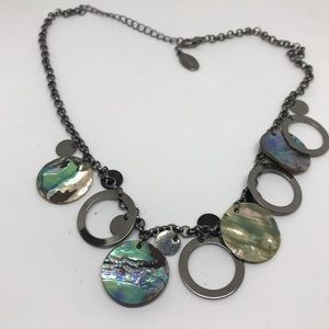 Abalone shell silver tone necklace